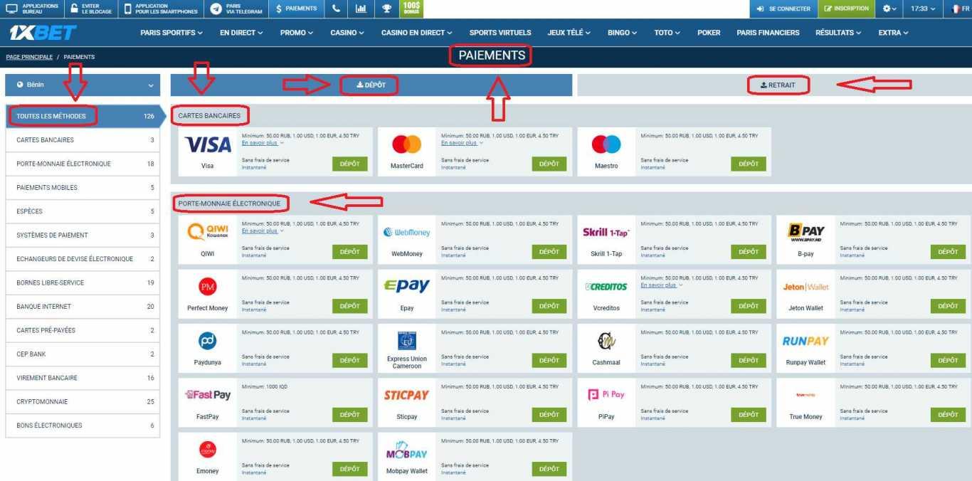 Modes de paiement en ligne 1xBet Bénin